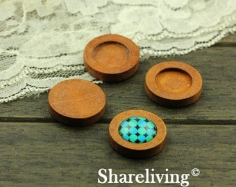 10pcs 16mm Wood Setting, Wood Tray, Wooden Round Cameo Tray
