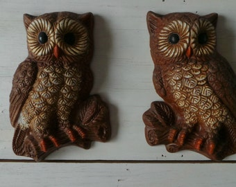 Vintage owls foam hoot owl pair wall hanging kitchen decor