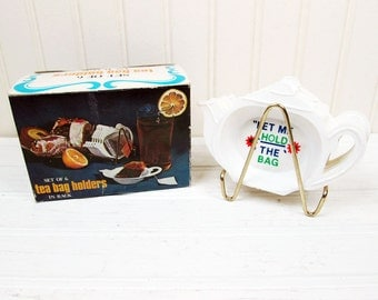 Vintage Plastic Tea Bag Holder Set Teapot Flower Floral Ace In Box Retro