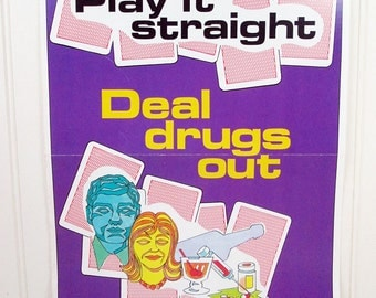 Vintage Work Safety Poster Ohio Deal Drugs Out Anti-Drug Retro 1980s