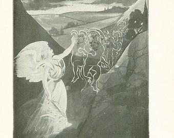 Vintage Angel Print The Devil Satan Antique Christian Book Illustration 1911 Demons