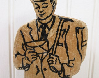 "Vintage Mailman Figurine Wood Toy Postman Mail Man Postal Carrier 8"" Wooden"