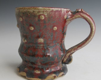 Wheel thrown mug red with white dots handmade mug