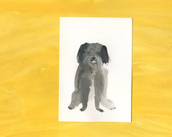 100 Hideous Hounds - No. 28 - Original Gouache dog painting