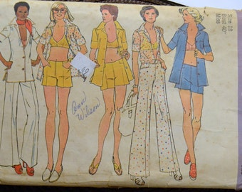 Vintage Sewing Pattern Simplicity 6411 Misses'  Hip Huggers, Bra Top and Shirt Size 18 Bust 40 inches  Complete