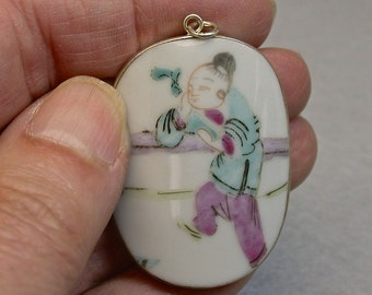 ANTIQUE SHARD Chinese Qing Dynasty Rare Figural Porcelain Pendant pt277