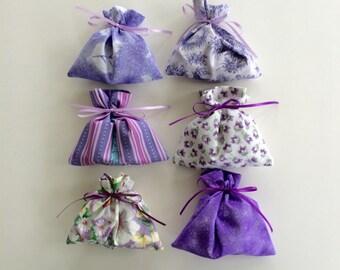 Purple Bags - 6 Reusable Eco-Friendly Cotton Fabric