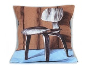 Throw Pillow - Eames Chair - Midcentury Modern - Decorative Pillows - Pillow Cover - Gifts for Him - Under 50 - Couch Cushion - 16x16