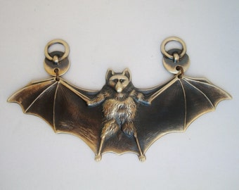 SteamPunk Or Gothic, THE BAT, Wonderful Handmade and Custom Decadent vintage Brass Ox Or Dark, USA Metals and Produced, Pendant Or Necklace