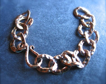 Copper Hammered Extender Chain Hook and Eye Clasp - 3 inches