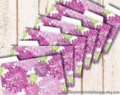 Recipe Cards, Dividers, Tabs, Flower, Dahlia, Garden, Bloom, Pattern, Printed, Purple, Plum, Lilac, Green, Cooking, Food, Kitchen, Set of 6