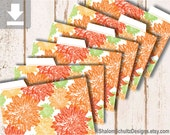 Recipe Cards, Dividers, Tabs, Flower, Dahlia, Garden, Bloom, Pattern, Digital File, Printable, Orange, Tangerine, Green, Cooking, Kitchen