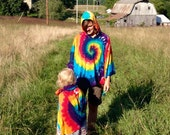 Rainbow Tie Dye Cotton Poncho with Hood and Pocket