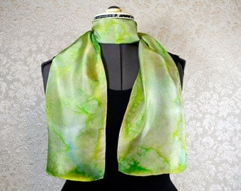 Hand painted silk scarf, rectangular, in yellow green