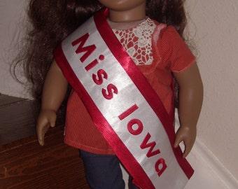 Red satin doll sash, doll pageant sash
