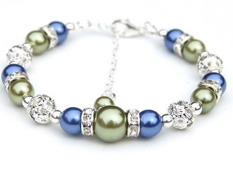 Olive Green and Blue Pearl Rhinestone Bracelet, Bridesmaid Gifts, Bridal Party, Bling Bracelet, Bridesmaid Jewelry