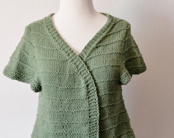 Hand Knit Sweater - Women's Sweaters. Teasepod in Sprig Green. 100% Wool, Organic Merino, Sustainable Eco Friendlier Fall Fashion