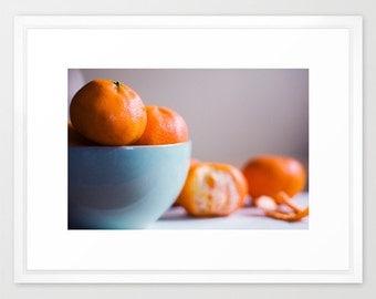 still life photo orange blue - food photography- Orange Delicious fine art photograph- for foodies- kitchen decor- kitchen wall art