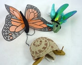finger puppets Folkmanis 3 insects vintage toys & games butterfly dragonfly snail