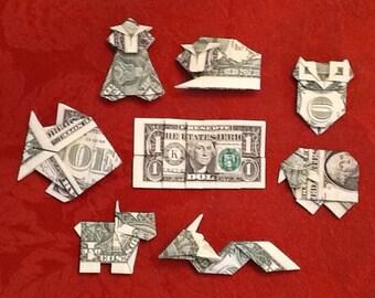 RANDOM - Origami One Dollar Bill Creations - CHOOSE ANY 5