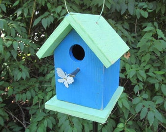 Primitive Chickadee Wren Cute Songbirds Rusty White Butterfly Lime Green Royal Blue Birdhouse