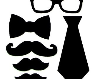 Baby Shower Hipster Set//Geeky Glasses, Moustaches, Necktie And Bow Tie//Felt Or Cotton// Iron On Applique Set//Baby Shower