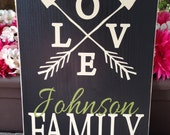 Crossed arrows love Family Established Sign, Personalized, Family Name Sign, wood sign - Style# FA38
