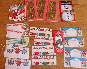 19 Vintage 1960s Christmas Gift and String Tags
