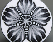 LARGE Black, White, and Silver Polymer Clay Flower Cane -'Nevermore' (35A)