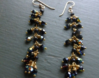 BLACK MIDNIGHT CRYSTAL Danglers