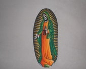 Mexican Art Virgin de Guadalupe Day of the Dead Iron on Patch Applique DIY No Sew
