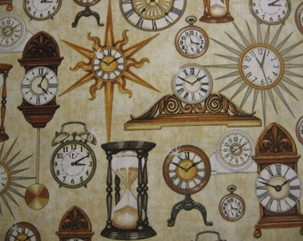 Timeless by Quilting Treasures - vintage clocks on beige