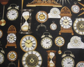 Timeless by Quilting Treasures - vintage clocks on black