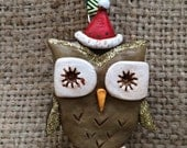 Brown gold and red hat shimmer Owl Folk Art Ornament
