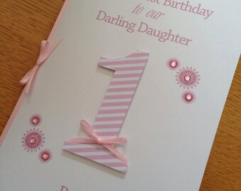 First Birthday Daughter or Son Card - Pink or Blue - with baby's name and/or date