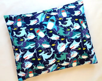 The Perfect Toddler Pillow ...Sharks on Navy Blue Flannel Cotton ... Original Design by Sew Cinnamon