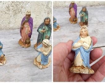 Vintage Antique old French compo  nativity characters set of 5