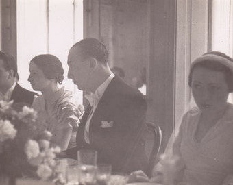 Antique 1930/30s French photography wedding bridal at lunch