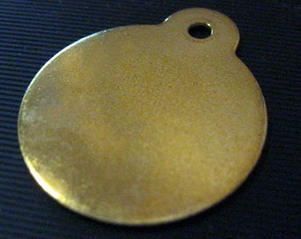 Blank BRASS tags for stamping ......round with ear... 1 inch  Qty 5