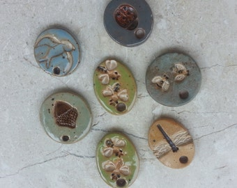 SPECIAL PRICE - 75% OFF - Small Stoneware Glazed Pottery Pendant or Mini Ornaments Set no.45 - Set of 7 - Nature Bird Bees Insects Dragonfly