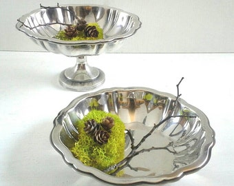 Wm A Rogers Silverplate Compote & Candy Snack Bowl Set of 2 Silver Plated