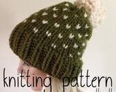 Knit Hat Pattern - Fair Isle Knit Slouchy Hat - Pom Pom Hat