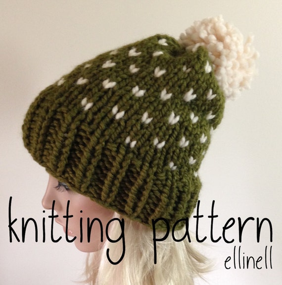 Knit Hat Pattern Fair Isle Knit Slouchy Hat Pom Pom by ellinell