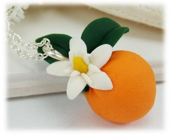 Petite Flowering Orange Fruit Necklace - Fruit Jewelry Collection, Gift for Gardener