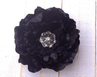 "Black Flower Clip 3.5"" Peony Hair Clip Clear Rhinestone Flower Clip Wedding Bridesmaid Flower Girl Black Hair Clip Black Hair Flower"