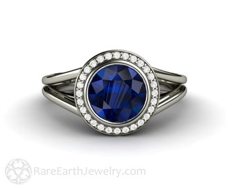 Blue Sapphire Engagement Ring Split Shank Sapphire Ring Bezel Diamond Halo 14K or 18K Gold and Platinum