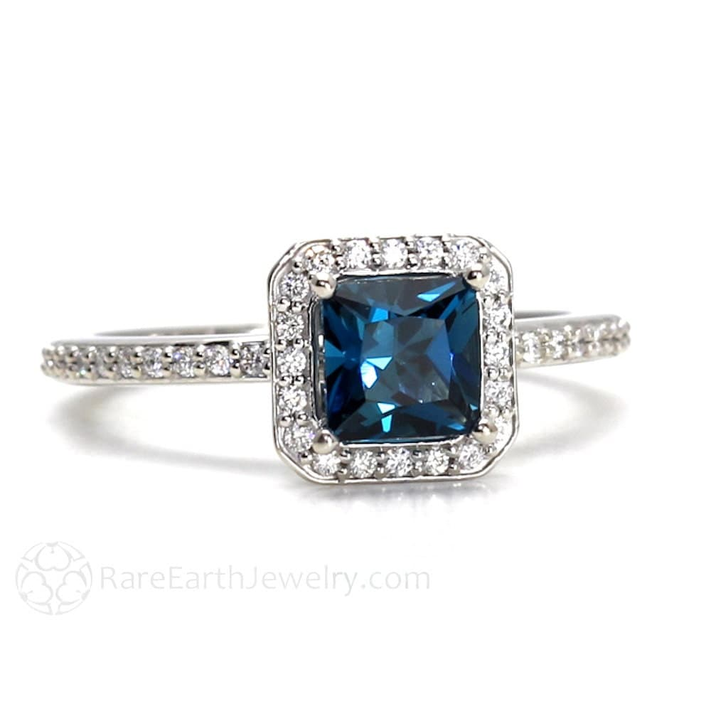 London Blue Topaz Ring Topaz Engagement Ring Princess Diamond