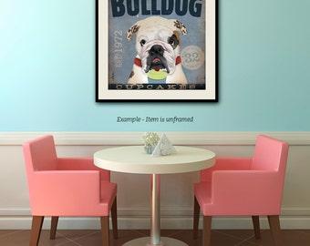 English Bulldog dog cupcake Company graphic illustration giclee archival signed artist's print by stephen fowler geministudio