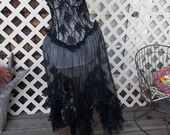 Black Frilly NEgligee Andrea Kristoff for Escante sz L Steampunk meets Miss Kitty's Saloon