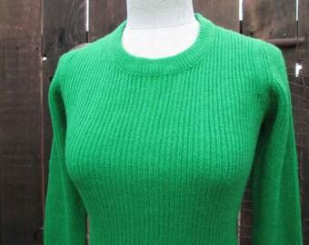 60s Bright Green Knit dress vintage mini dress Sweaterdress full fashion fit and flare knit dress St John Knits Style M